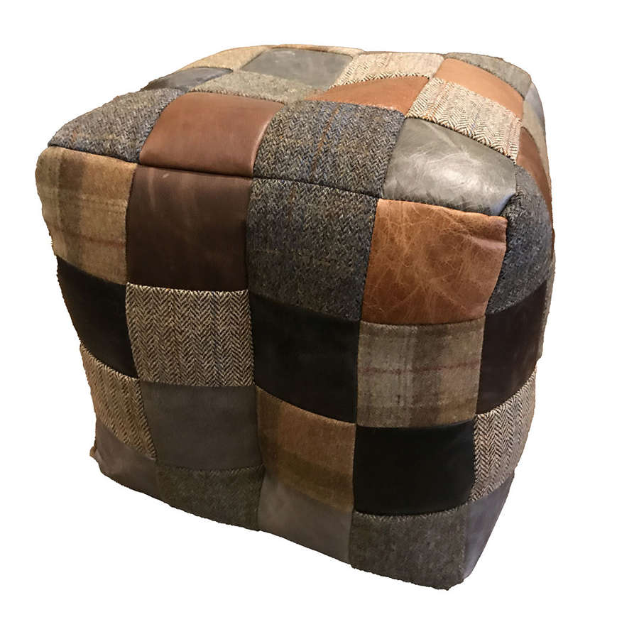 Mixed Harris Tweed and Leather Bean bag
