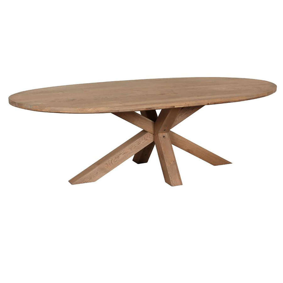 Tambour Grey Oval Dining Table