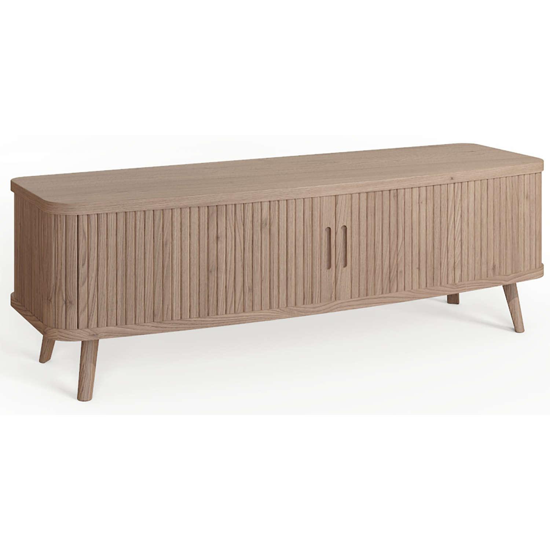 Tambour Oak Grey TV cabinet