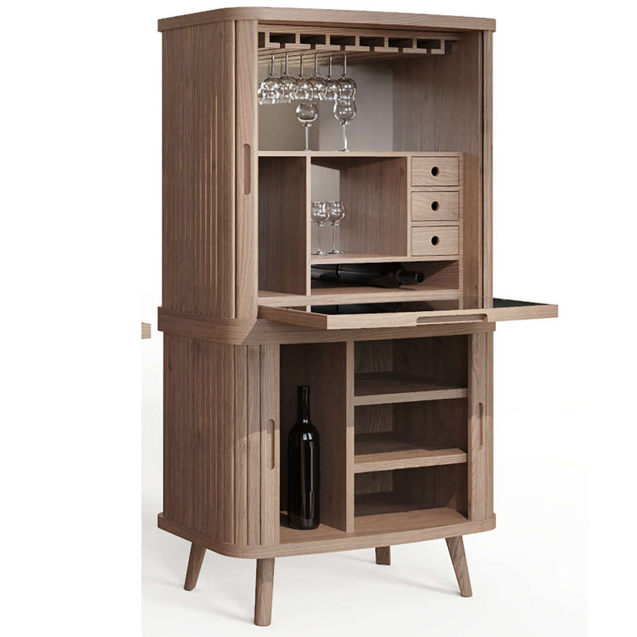 Tambour desk and drinks cabinet