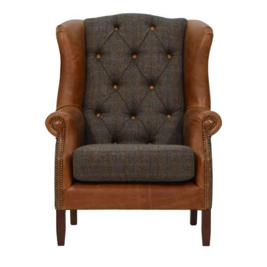 Wing Armchair in Harris Tweed and Leather