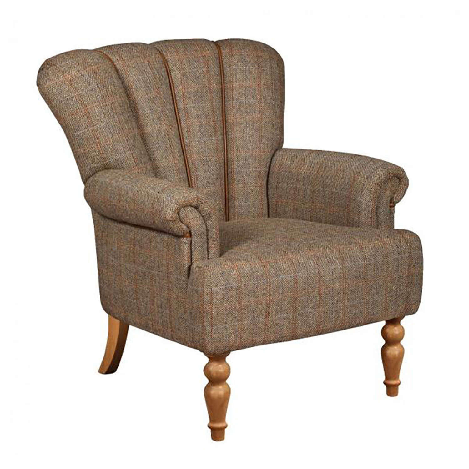 Lily Armchair in Harris tweed and Leather