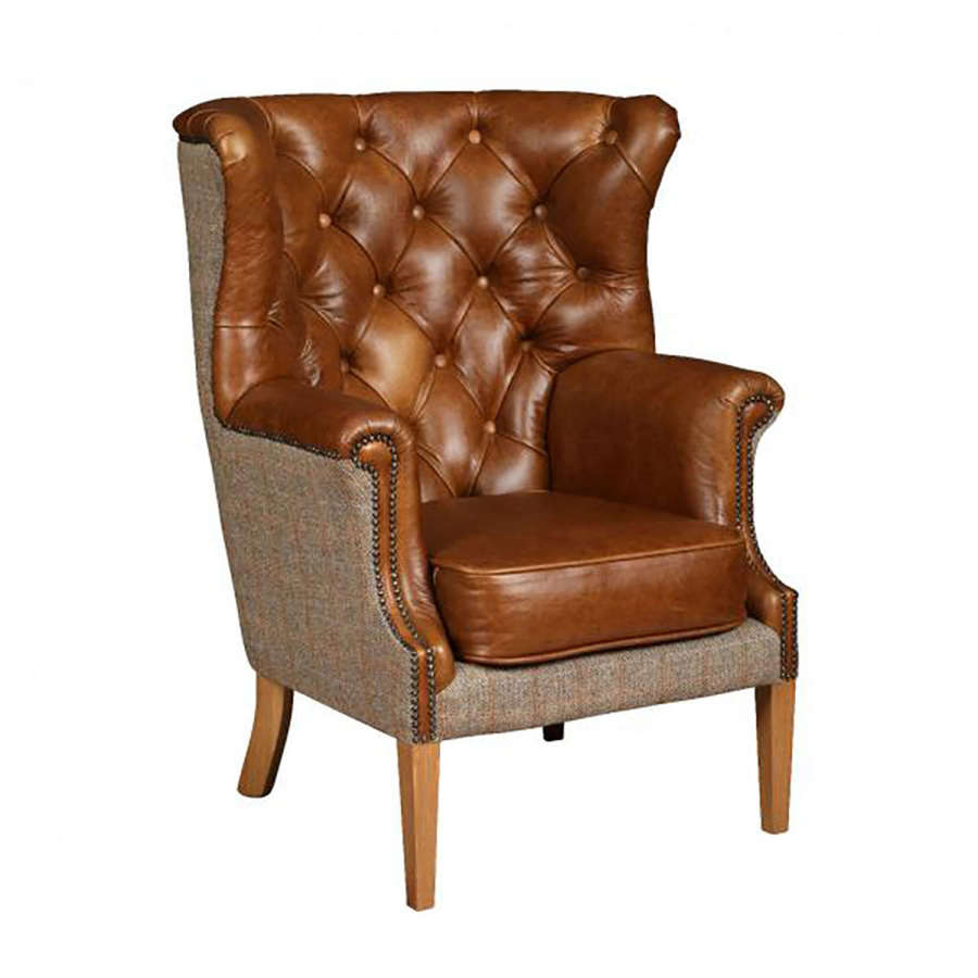 Winchester Harris Tweed and Leather Armchair