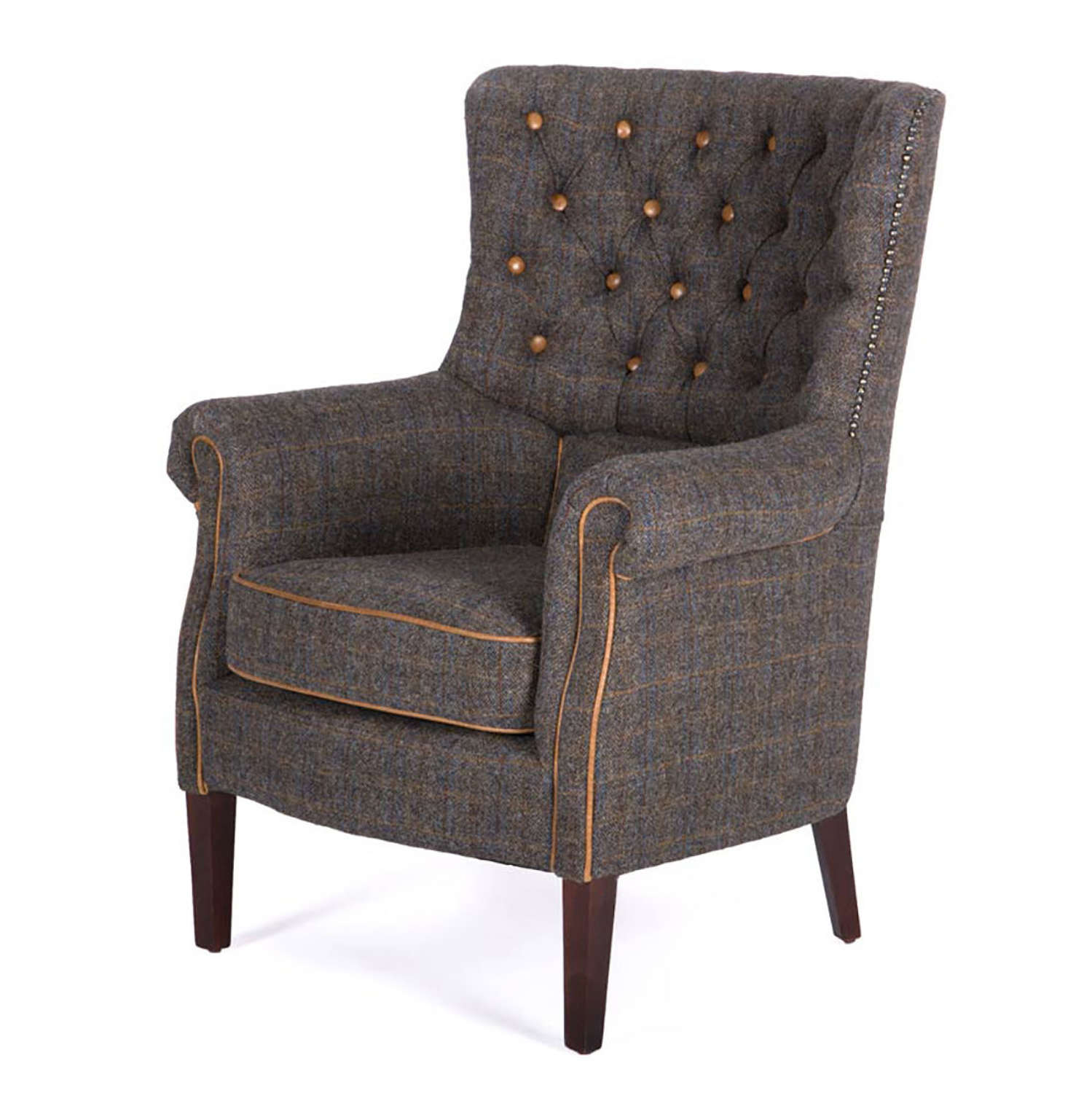Holker Armchair in Uist Night Harris Tweed and Leather