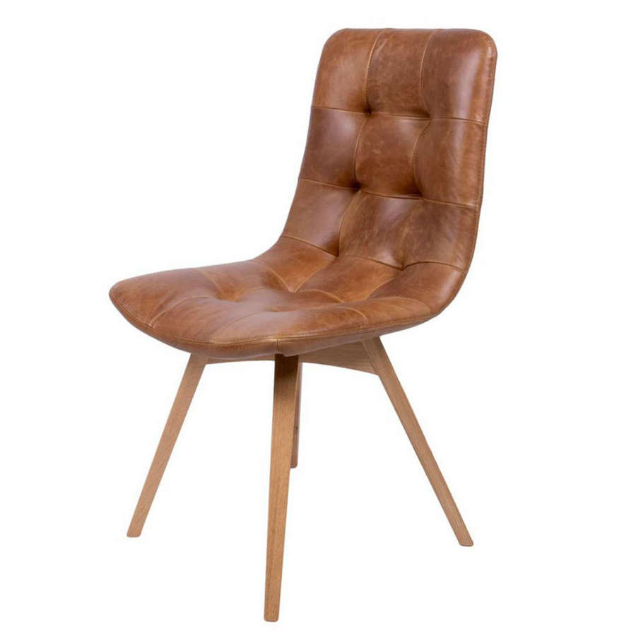 Allegro Dining chair in Cerato brown leather