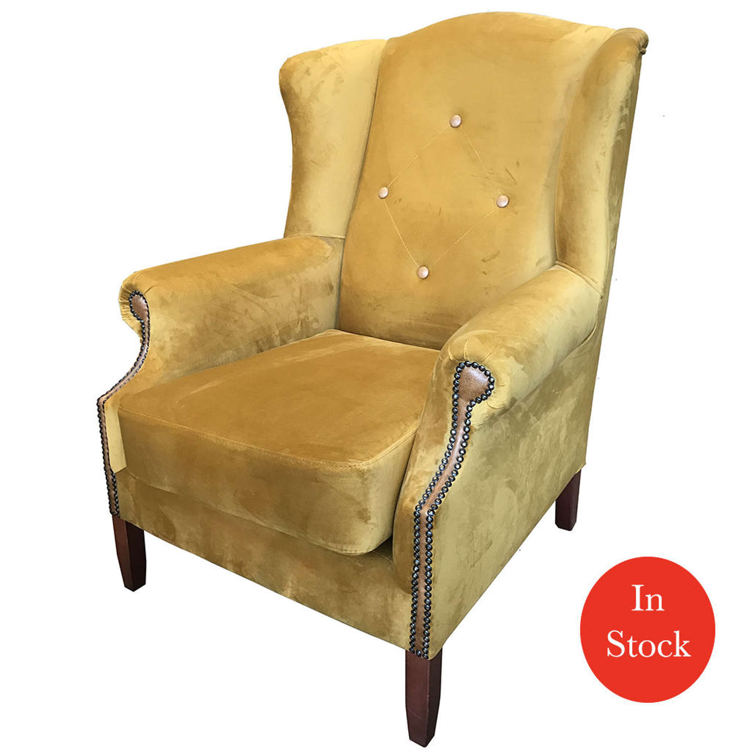 Wing Button Armchair in Opulence Saffron and Leather